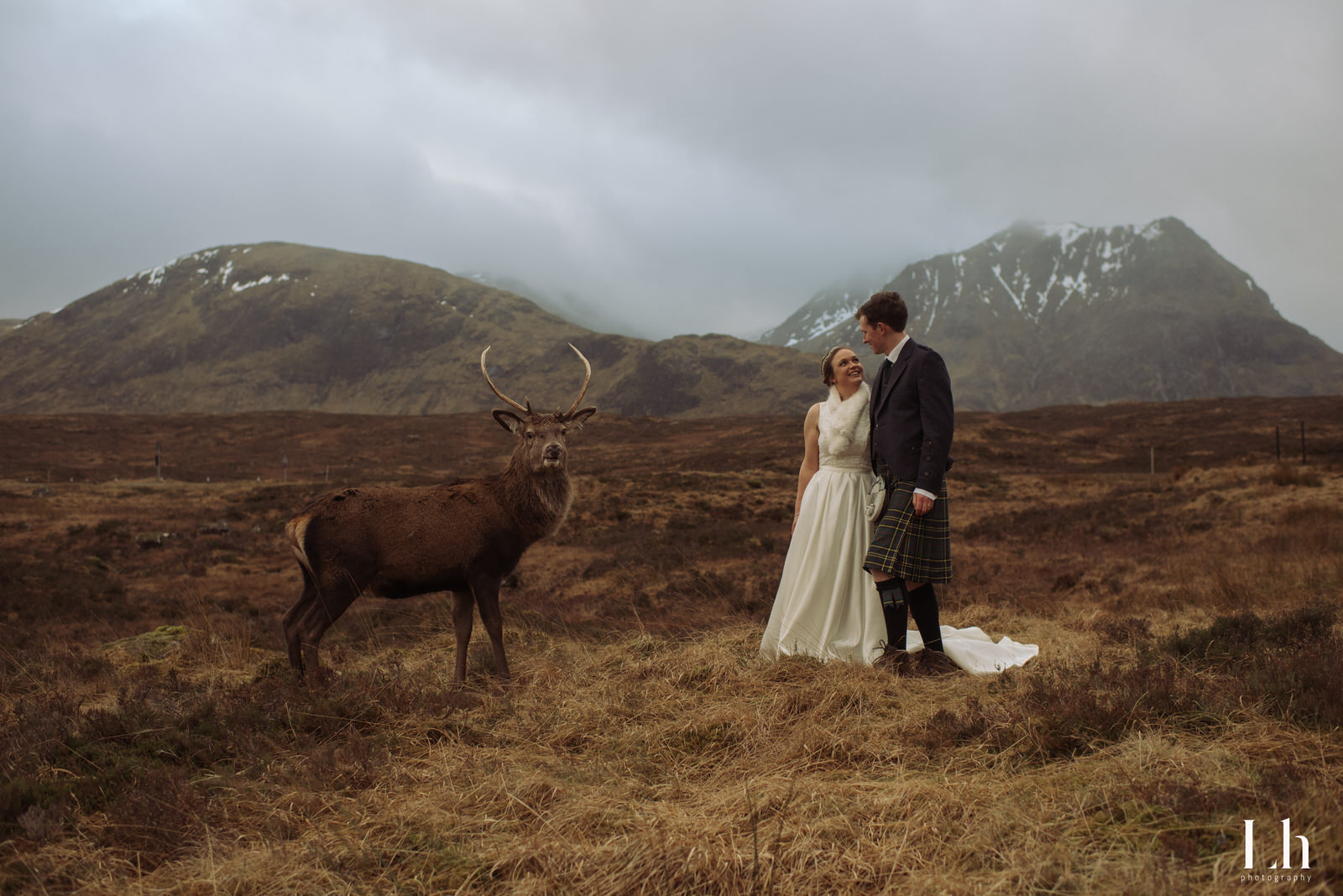 Glencoe Elopement Photography | Stag Wedding Picture